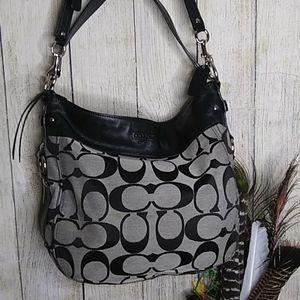 Coach black and tan print bag